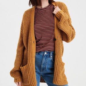 AEO • Mustard Yellow Waffle Knit Cardigan